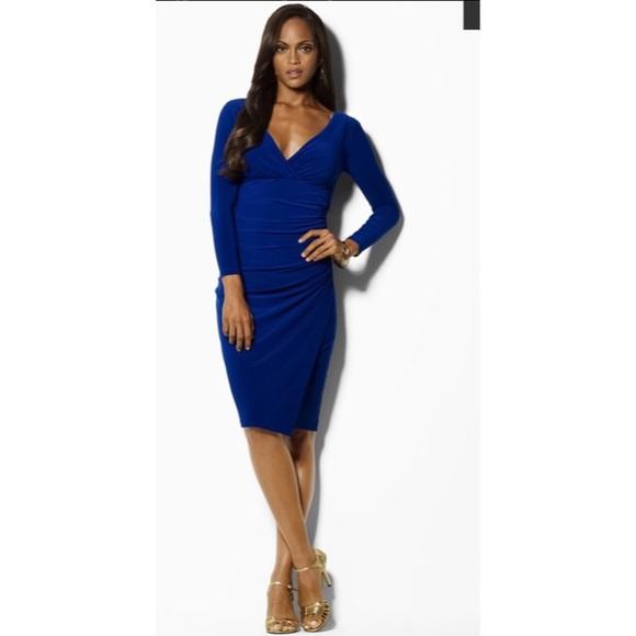 Ralph Lauren Ruched V-Neck Jersey Dress 6P