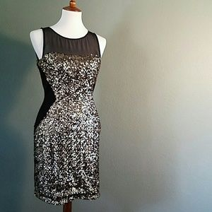 Aidan Mattox Gold Sequin Dress