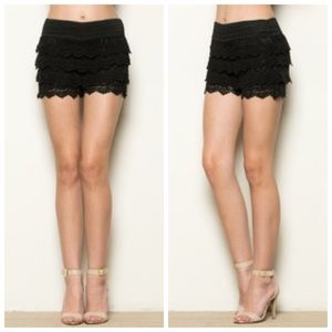 Pants - 🆕Black Layered Crochet Shorts