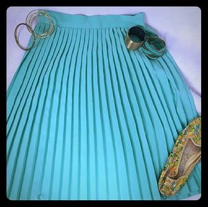 Teal Mint Colored Pleated American Apparel Skirt