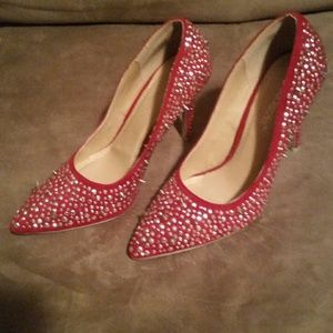 ShoeDazzle Shoes - Red and silver pumps