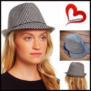 San Diego Hat Company Accessories - ❗️1-HOUR SALE❗️Houndstooth Fedora Wide Brim Hat