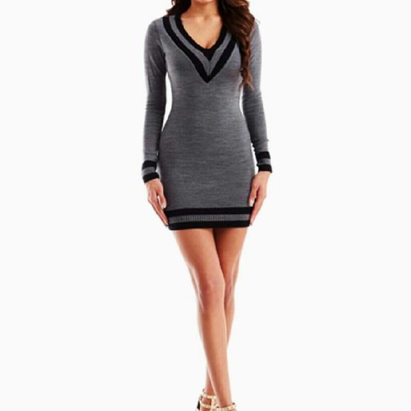8093f35817 Varsity V-Neck Sweater Dress by Hera Collection