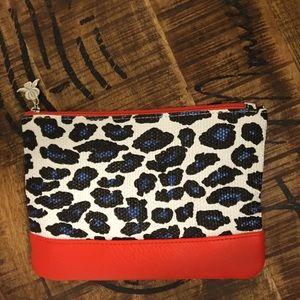 Cheeta print color block makeup bag