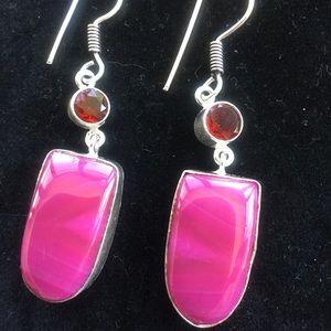 Jewelry - NEW!Agate,Garnet,Quartz,silver earrings
