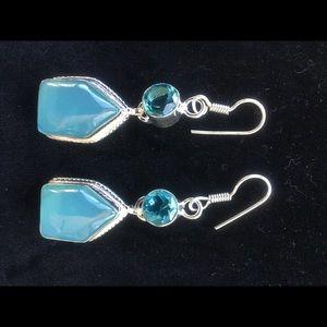 Jewelry - NEW! Genuine ONYX and QUARTZ,Earrings