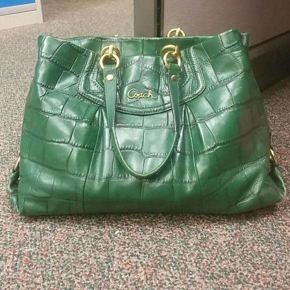 87% off Coach Handbags - SOLD COACH Ashley green crocodile handbag ...