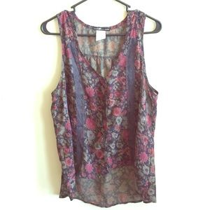 Love Squared Tops - High Low Floral Blouse Top