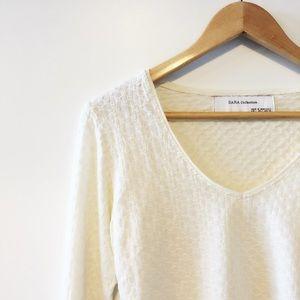 Zara Tops -   Zara   V Neck Basic Long Sleeve T-Shirts