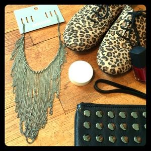 """Silver"" chain bib necklace NWT"