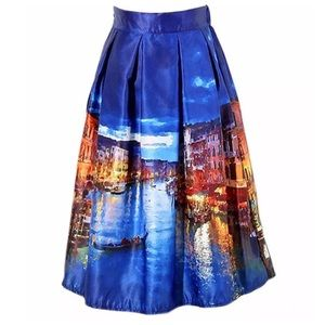 Boutique Dresses & Skirts - Blue Watercolor Venice Italy Grand Canal Skirt