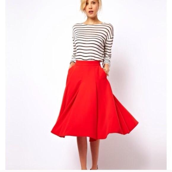 ASOS - New Asos Full Red Midi Skirt with Pockets from Shasten's ...