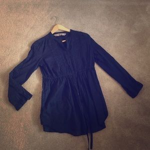 Zara navy cotton shirt with drawstring waist