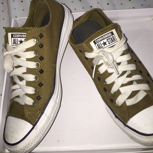 71162cb775a Converse Shoes - Army green studded Converse