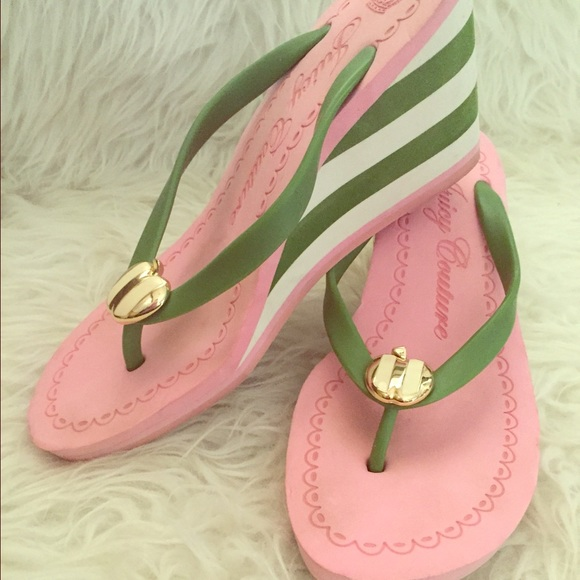 e8e9a0158252 Juicy Couture Shoes - Juicy Couture Pink   Green Wedge Flip Flop