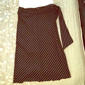 Classy black and white striped midi skirt