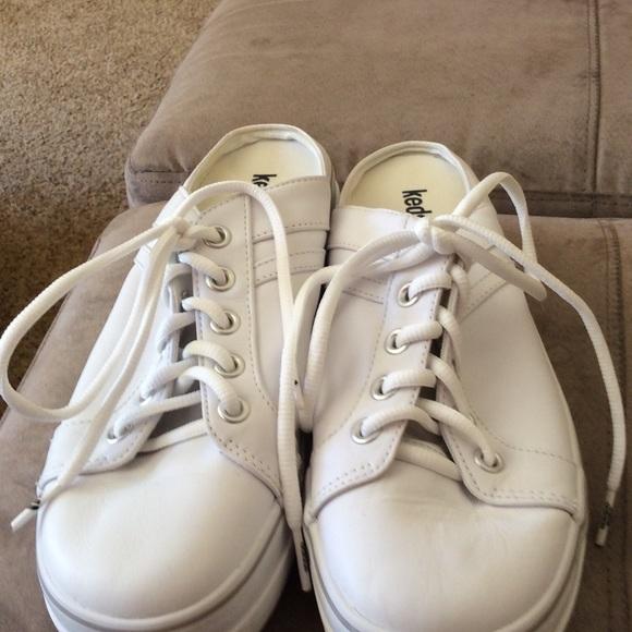 keds white leather mules