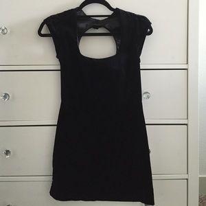 Black velvet mini dress open back