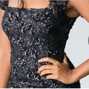 Floral Patterned Sequin Dress