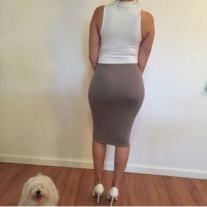 Dresses & Skirts - Taupe Midi Pencil Skirt