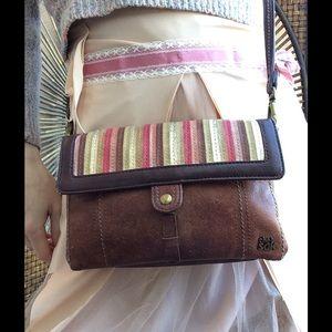 The Sak Handbags - The SAK Brown Leather Striped Patchwork Crossbody