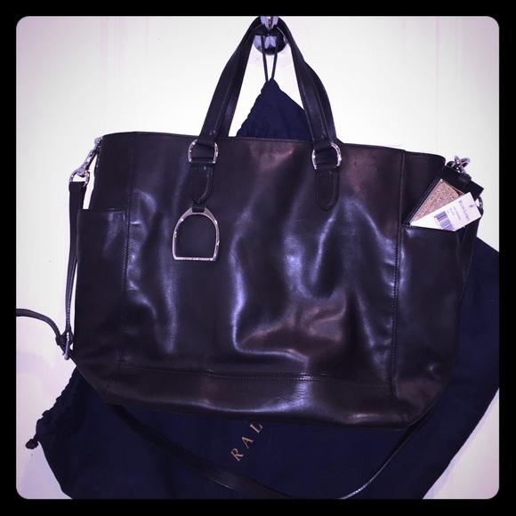 NWT Lauren Ralph Lauren Black Leather Tote 5b54c41121f04