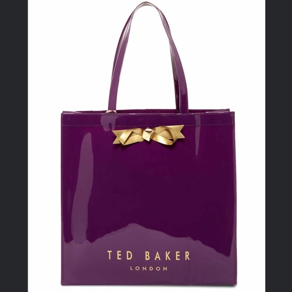d73250a04764 TED BAKER Monicon Tote Bag Purple Gold Bow