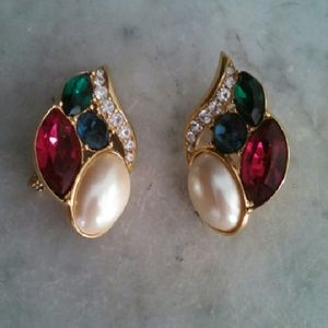 Vintage clip on costume jewelry.
