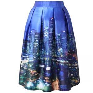 Boutique Dresses & Skirts - Blue Night City Skyline Cityscape Full Skirt