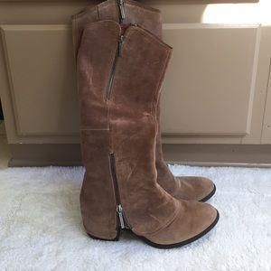 Donald J. Pliner Devi Boots in Chestnut Suede