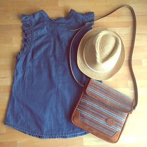 High neck chambray tank