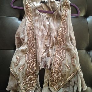 Ryu Jackets & Blazers - Taupe best with beautiful beading. NWOT! No flaws