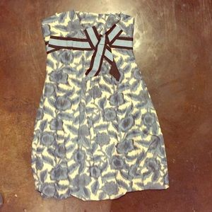 Strapless blue and beige floral BCBG dress