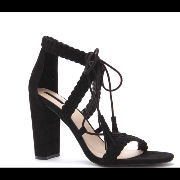 4f5a28c3330d Forever 21 faux suede braided lace up sandal heel