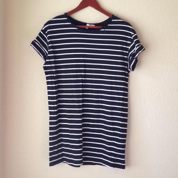 H M Dresses   Skirts - Blue and White Striped T-Shirt Dress 876a231d108a