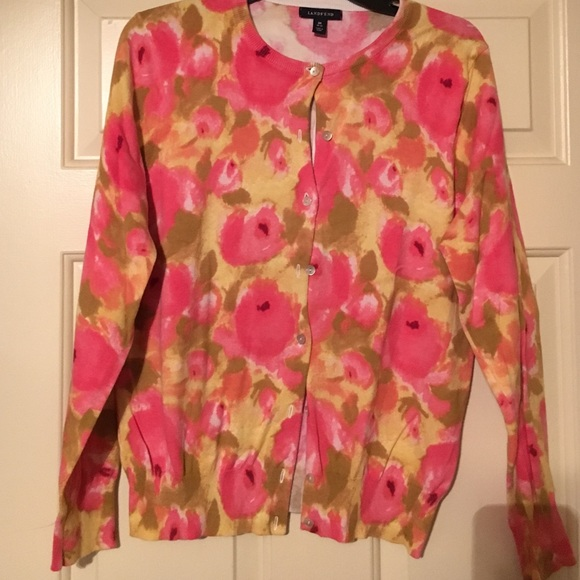 87% off Lands' End Sweaters - Land's End Yellow and Pink Floral ...