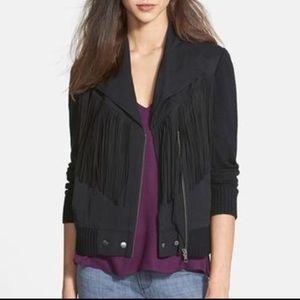Ella Moss Jackets & Blazers - Ella Moss Fringe Moto Jacket