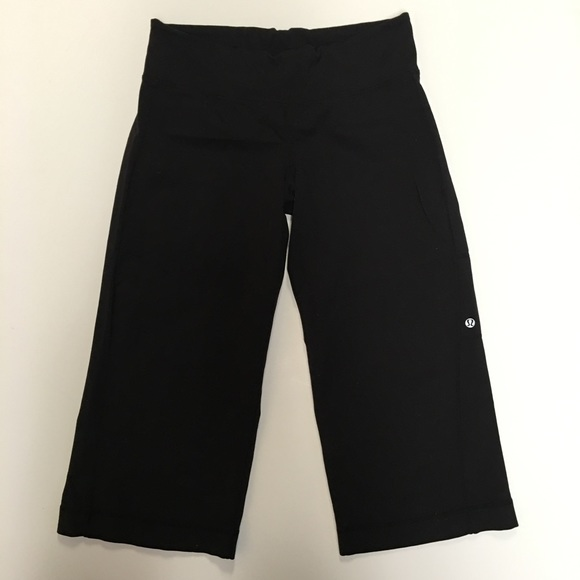 lululemon athletica - Lululemon Black Wide Leg Yoga Capris from ...
