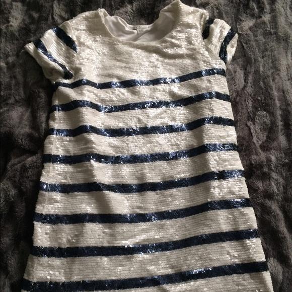 3ffa0e281d Zara striped navy sequin t shirt dress