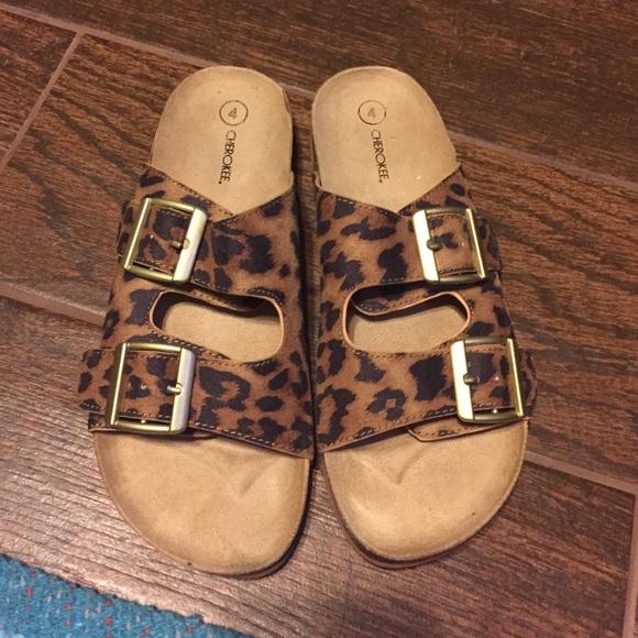 bad5966df8e Cherokee Shoes - Size 5.5 6 leopard Birkenstock like sandals