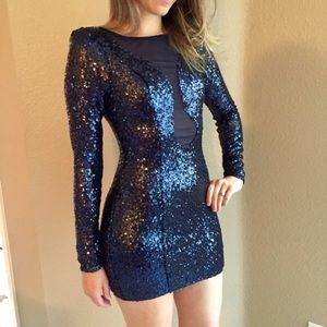 WINDSOR Dresses & Skirts - Long Sleeved Navy Sequin Mini Dress (LAST SMALL!)