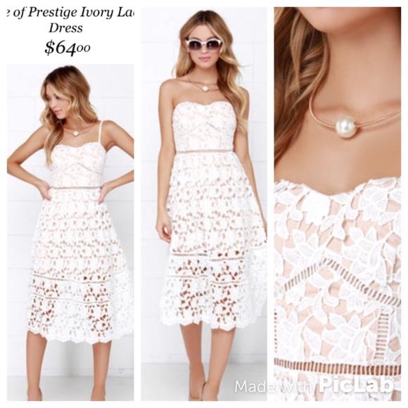 Lulus strapless ivory crochet lace Midi dress Sz S d9af74162