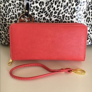 New coral double zipper wallet.