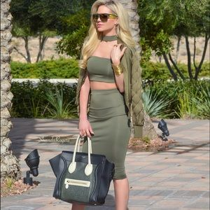 Dresses & Skirts - Olive choker style two piece set
