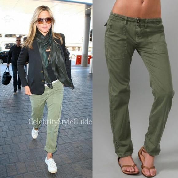 Current/elliott Woman Distressed Boyfriend Jeans Army Green Size 25 Current Elliott XVL31UbM