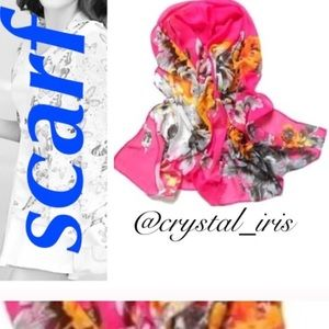 Accessories - Pink floral scarf
