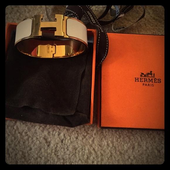 Authentic Wide Hermes H Bracelet Clic Clac Gold GM