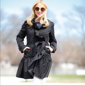 BNWT Black Ruffle Trench Coat (M)