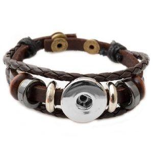 Button Bracelet Multilayer Leather Style