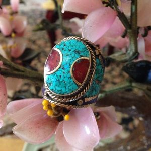Vintage inlay turquoise lapis coral ring